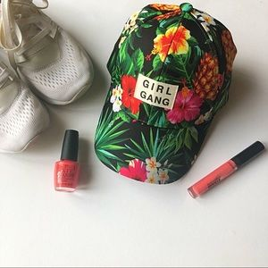 Tropical floral print Girl Gang hat